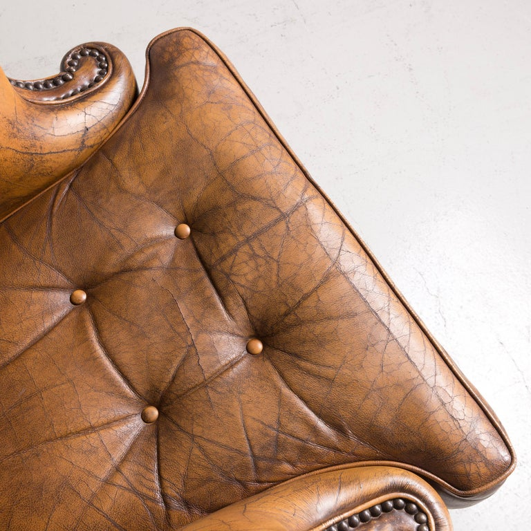 Chesterfield Leather Armchair Set Brown Vintage Retro  9