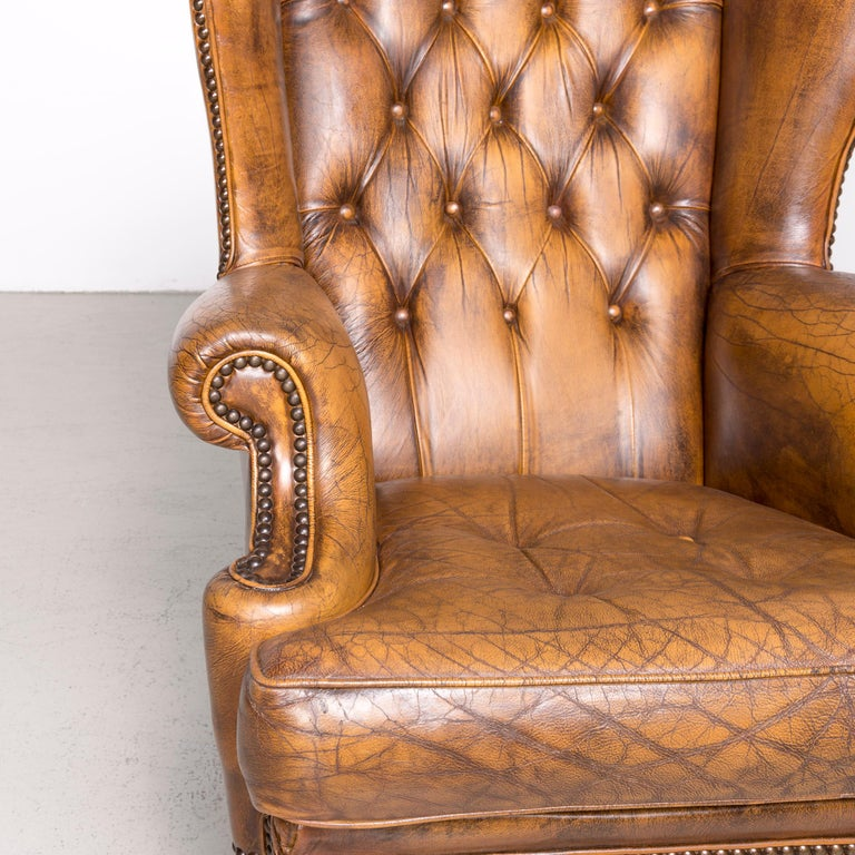 Chesterfield Leather Armchair Set Brown Vintage Retro  10