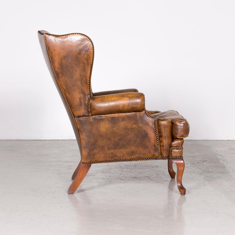 Chesterfield Leather Armchair Set Brown Vintage Retro  11