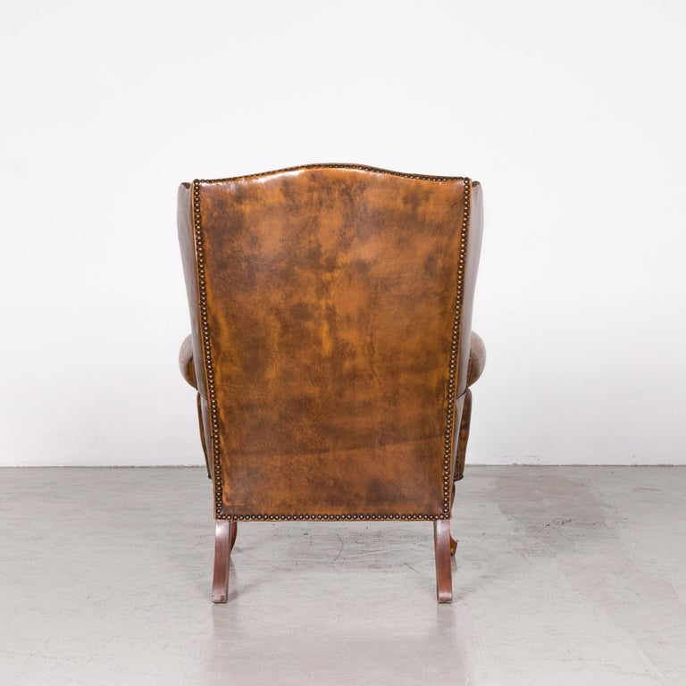 Chesterfield Leather Armchair Set Brown Vintage Retro  12