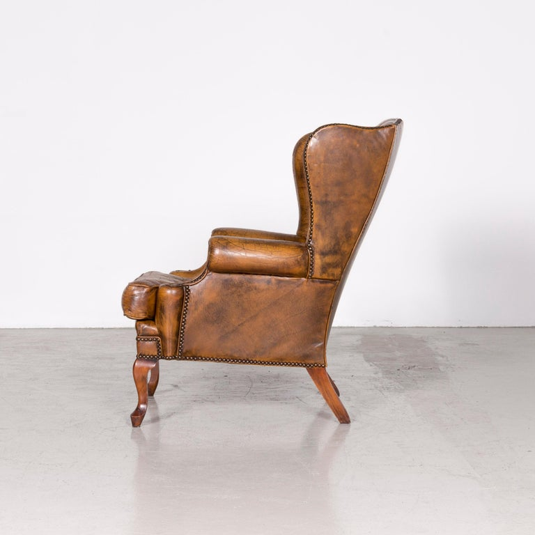 Chesterfield Leather Armchair Set Brown Vintage Retro  13