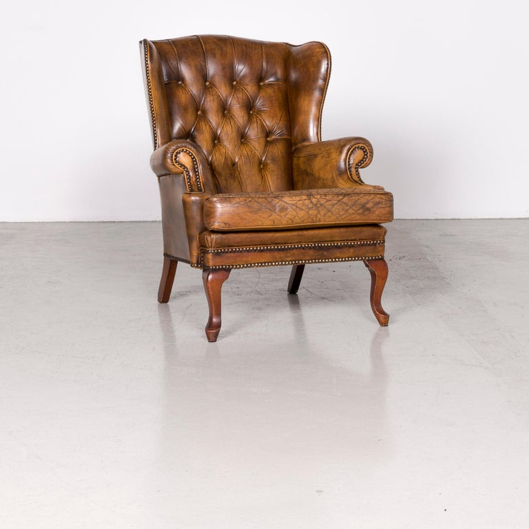Chesterfield leather armchair set brown vintage retro.
