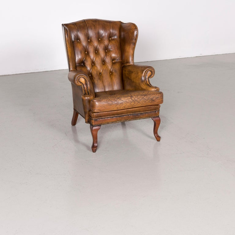 British Chesterfield Leather Armchair Set Brown Vintage Retro