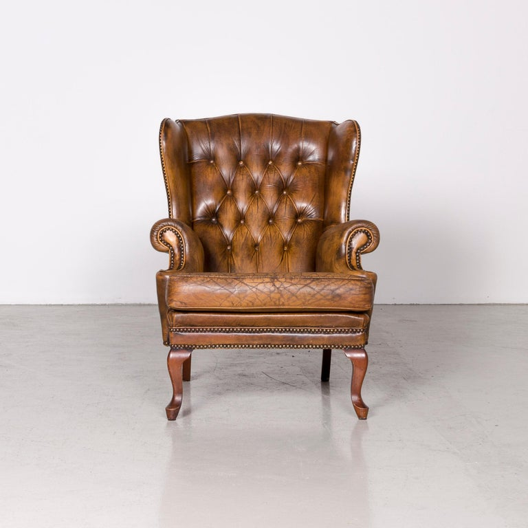 Chesterfield Leather Armchair Set Brown Vintage Retro  In Fair Condition In Cologne, DE