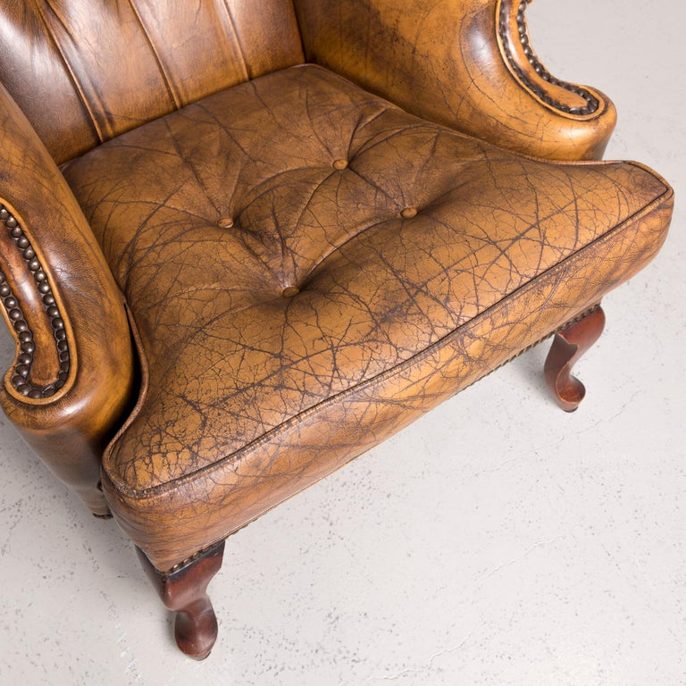 Contemporary Chesterfield Leather Armchair Set Brown Vintage Retro