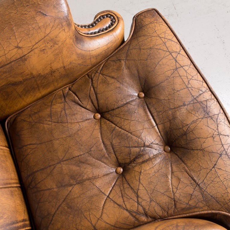 Chesterfield Leather Armchair Set Brown Vintage Retro  1