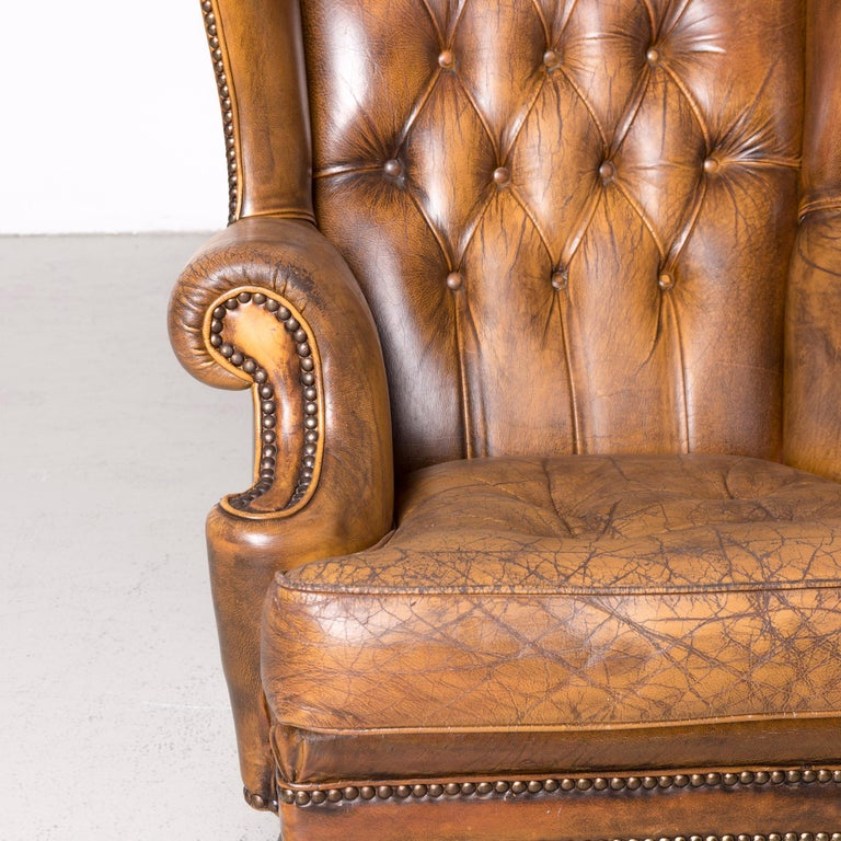 Chesterfield Leather Armchair Set Brown Vintage Retro  2