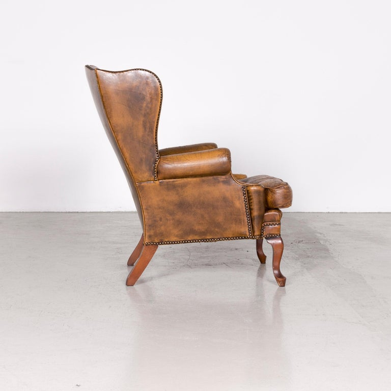Chesterfield Leather Armchair Set Brown Vintage Retro  3