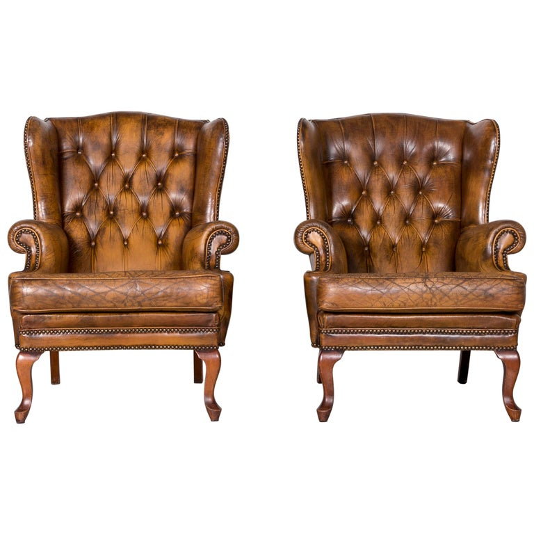 Chesterfield Leather Armchair Set Brown Vintage Retro