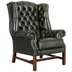 Chesterfield Leather Armchair Wingback Green One-Seat