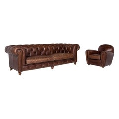 Chesterfield Leather Set Brown 1 Three-Seat 1 Armchair Retro