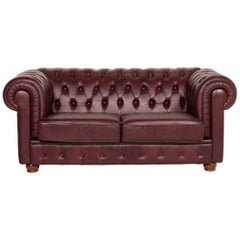 Chesterfield Leather Sofa Bordeaux Red Two-Seat Vintage Retro Couch