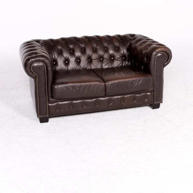 Chesterfield Leather Sofa Brown Genuine Two Seat