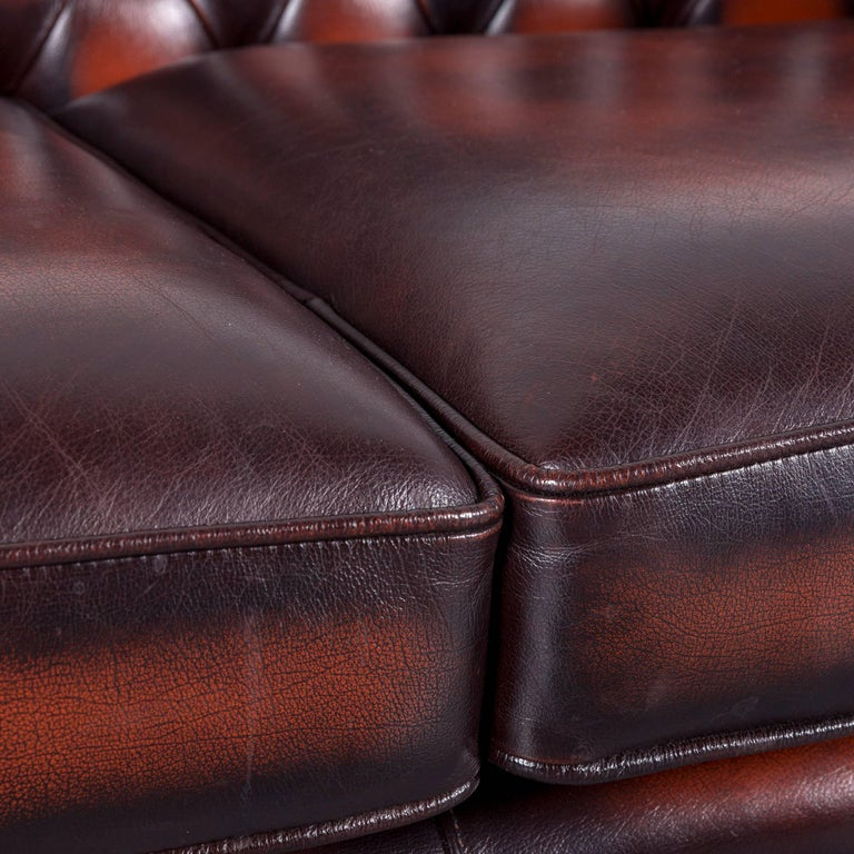 Chesterfield Leather Sofa Brown Orange Two-Seat In Excellent Condition In Cologne, DE