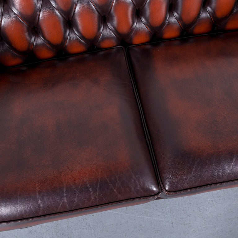 Contemporary Chesterfield Leather Sofa Brown Orange Two-Seat