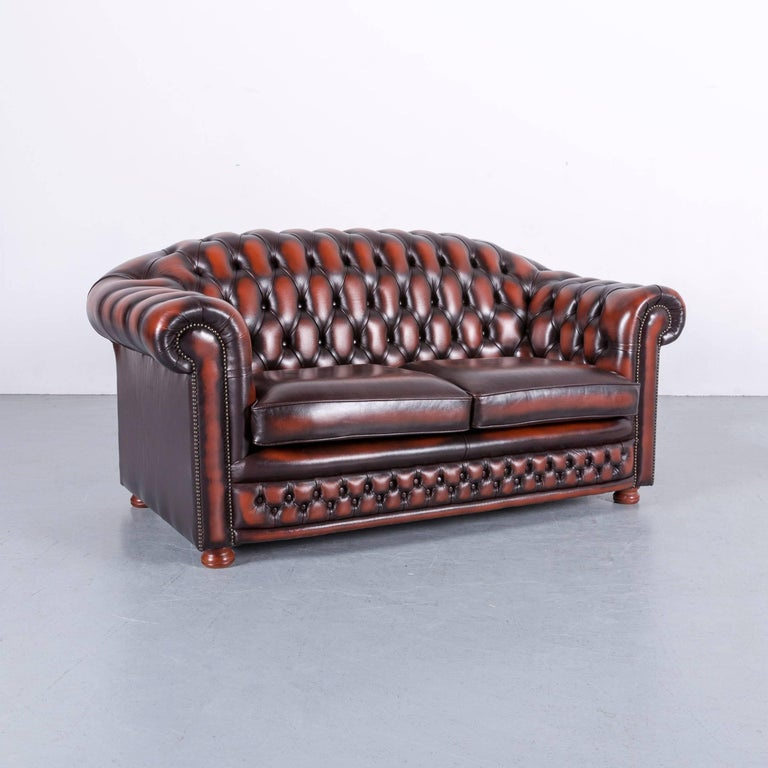 Chesterfield Leather Sofa Brown Orange Two-Seat 1