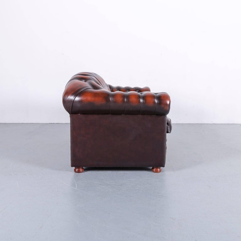 Chesterfield Leather Sofa Brown Orange Two-Seat 2