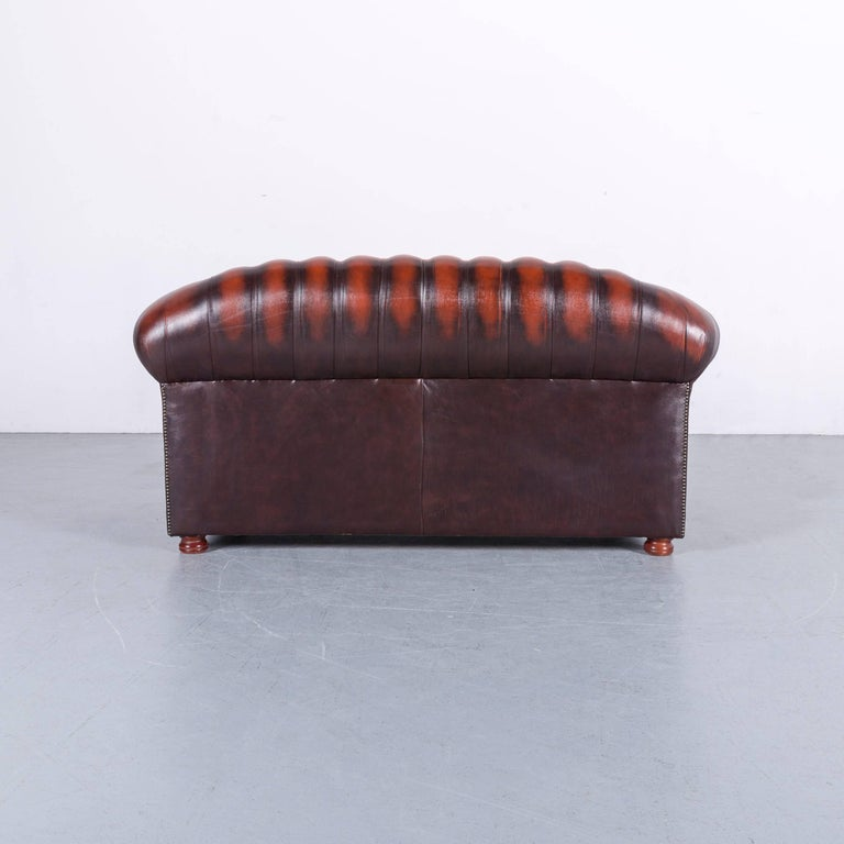 Chesterfield Leather Sofa Brown Orange Two-Seat 3