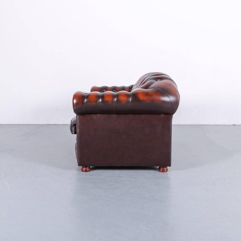 Chesterfield Leather Sofa Brown Orange Two-Seat 4