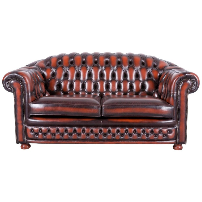 Chesterfield Leather Sofa Brown Orange Two-Seat