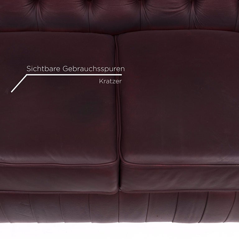 Modern Chesterfield Leather Sofa Brown Purple Two-Seat Retro Couch For Sale