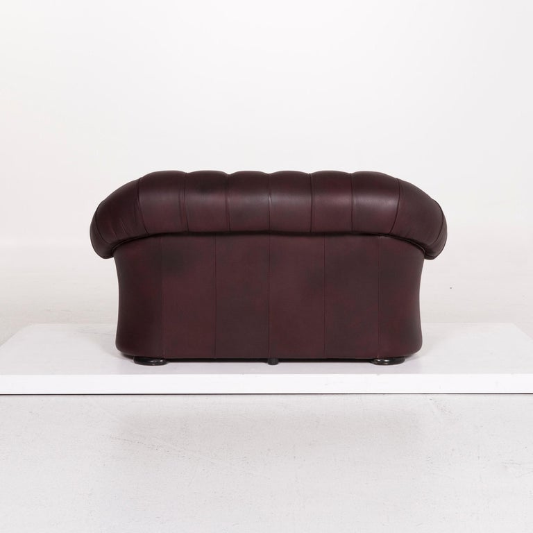 Contemporary Chesterfield Leather Sofa Brown Purple Two-Seat Retro Couch For Sale