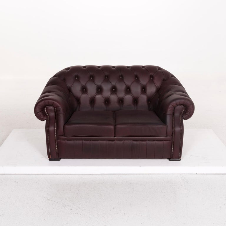 Chesterfield Leather Sofa Brown Purple Two-Seat Retro Couch For Sale 2