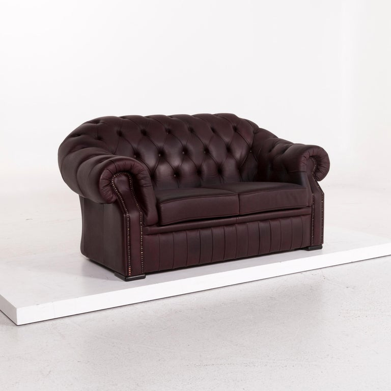 Chesterfield Leather Sofa Brown Purple Two-Seat Retro Couch For Sale 3