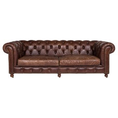 Chesterfield Leather Sofa Brown Three-Seat Retro Couch