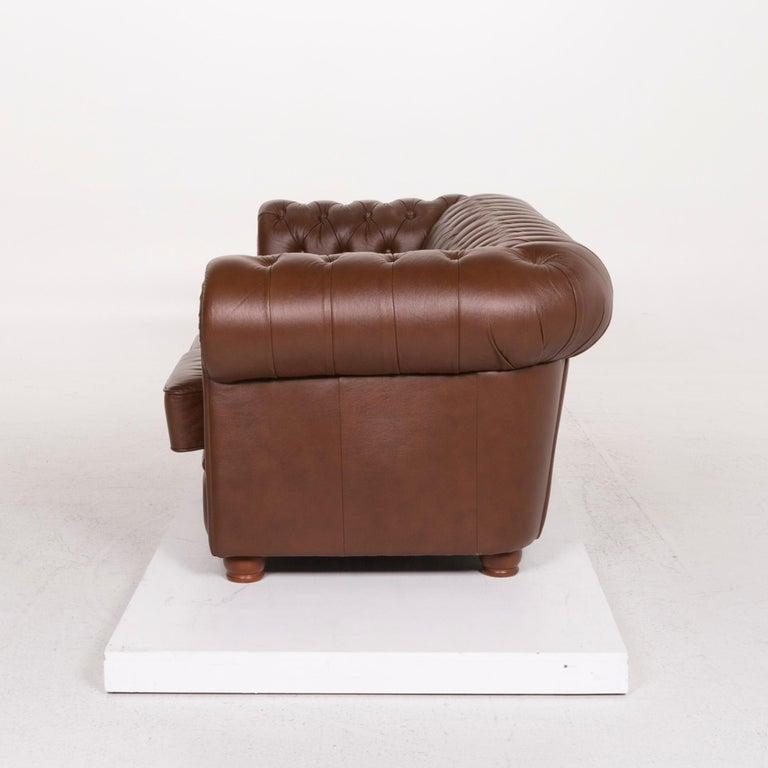 Chesterfield Leather Sofa Brown Three-Seat For Sale 4