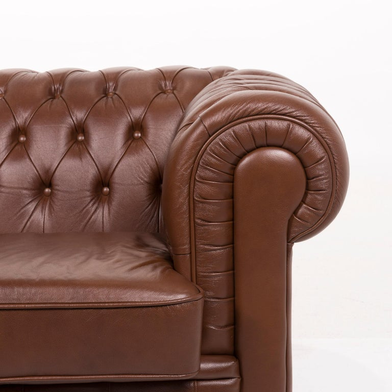 Modern Chesterfield Leather Sofa Brown Three-Seat For Sale