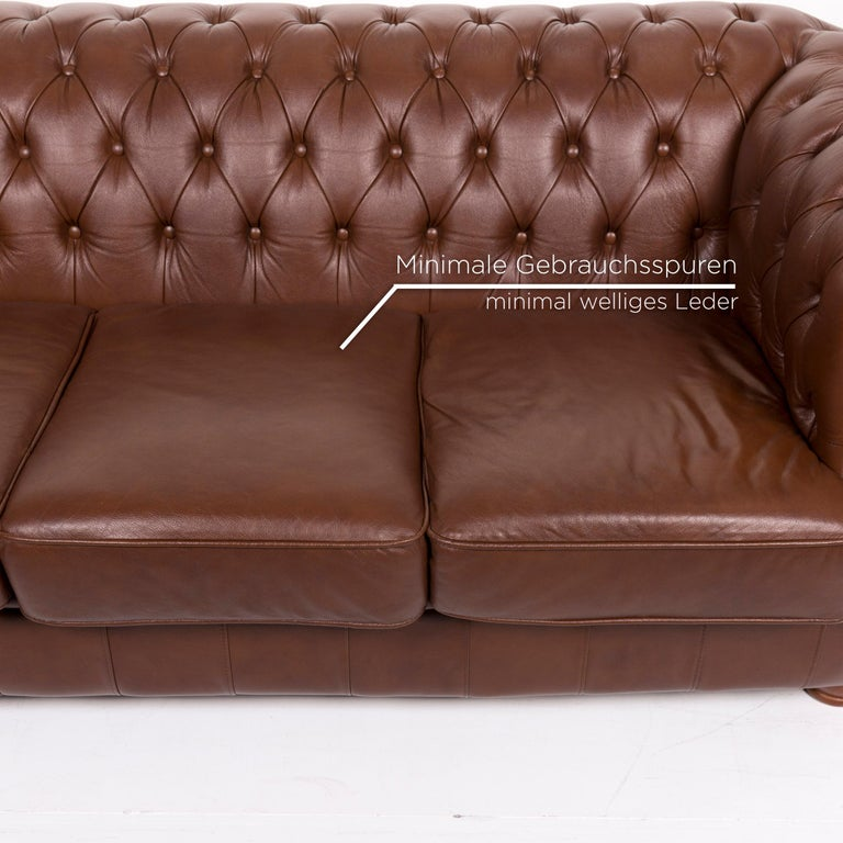 British Chesterfield Leather Sofa Brown Three-Seat For Sale