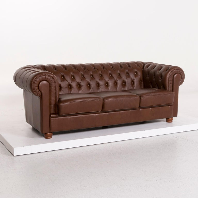 Contemporary Chesterfield Leather Sofa Brown Three-Seat For Sale