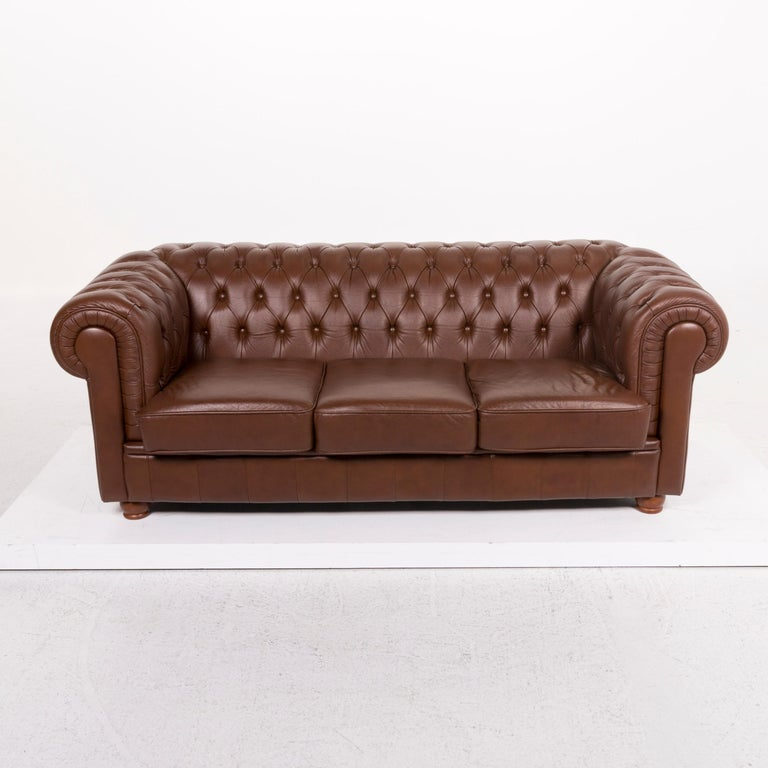 Chesterfield Leather Sofa Brown Three-Seat For Sale 1