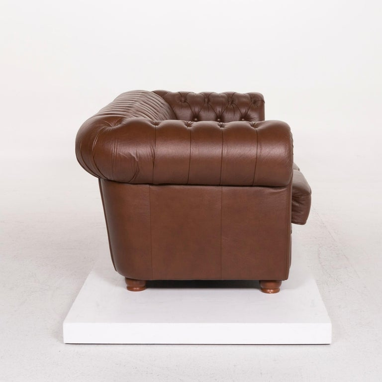 Chesterfield Leather Sofa Brown Three-Seat For Sale 2