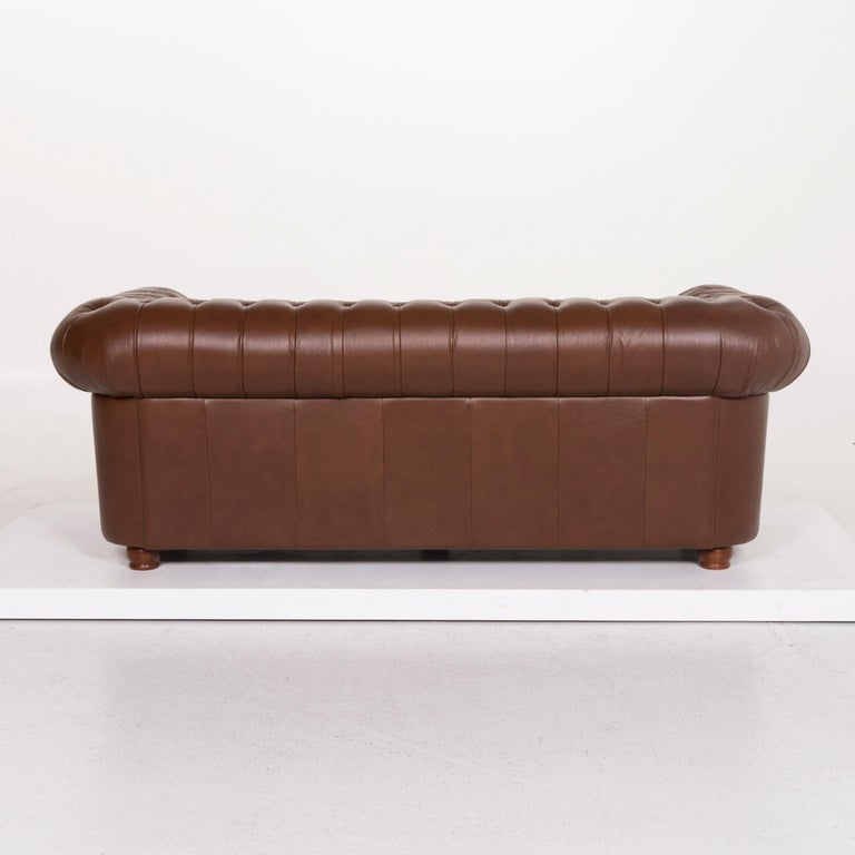 Chesterfield Leather Sofa Brown Three-Seat For Sale 3