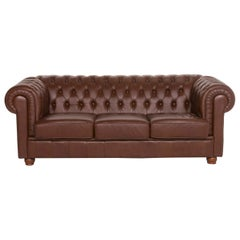 Chesterfield Leather Sofa Brown Three-Seat