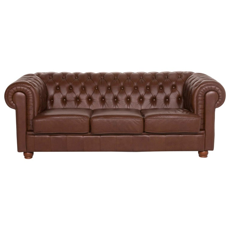 Chesterfield Leather Sofa Brown Three-Seat For Sale