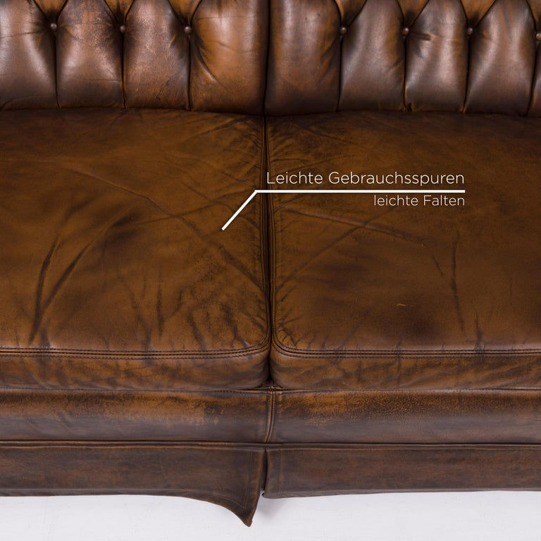 Modern Chesterfield Leather Sofa Brown Two-seat For Sale