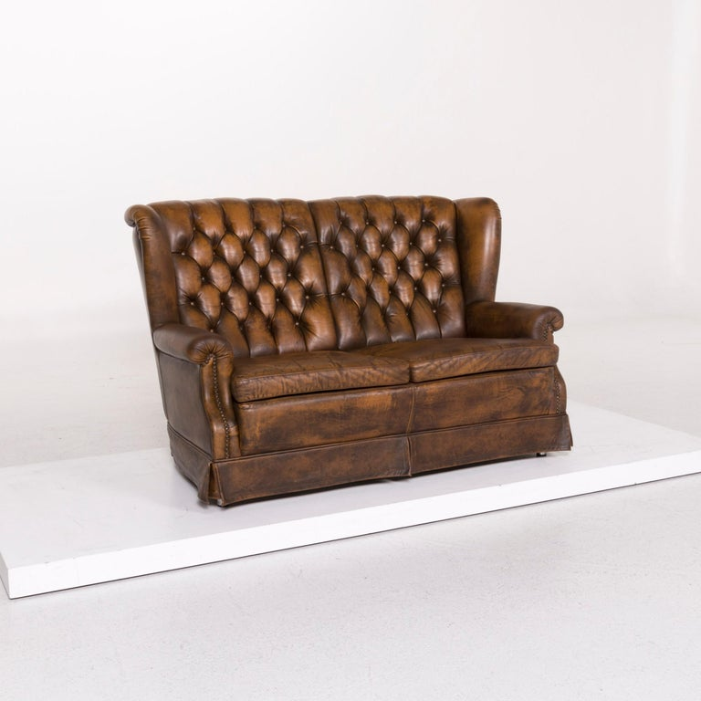 Chesterfield Leather Sofa Brown Two-seat In Good Condition For Sale In Cologne, DE
