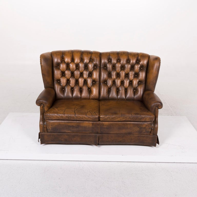 Contemporary Chesterfield Leather Sofa Brown Two-seat For Sale
