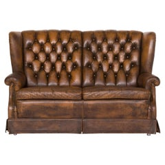 Chesterfield Leather Sofa Brown Two-seat