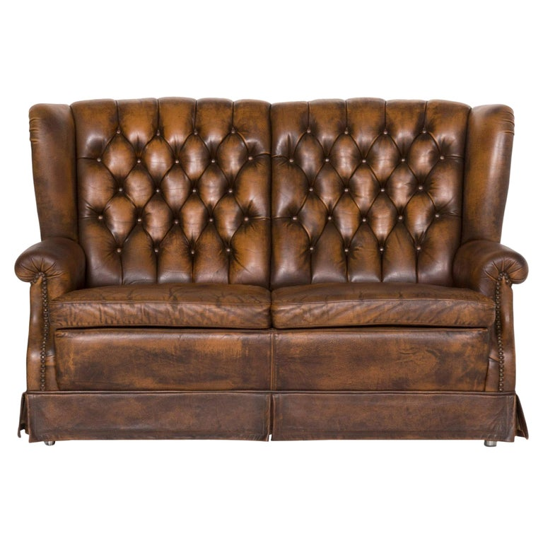 Chesterfield Leather Sofa Brown Two-seat For Sale
