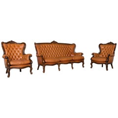 Chesterfield Leather Sofa Brown Vintage Retro Couch