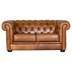 Chesterfield Leather Sofa Brown Vintage Two-Seat Couch