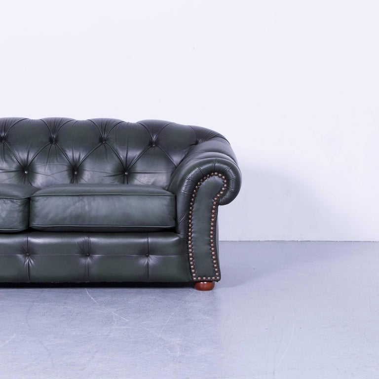 British Chesterfield Leather Sofa Green Two-Seat Couch