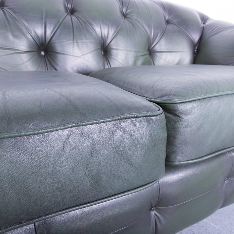Contemporary Chesterfield Leather Sofa Green Two-Seat Couch