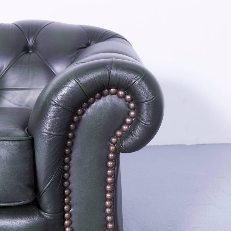 Chesterfield Leather Sofa Green Two-Seat Couch 2
