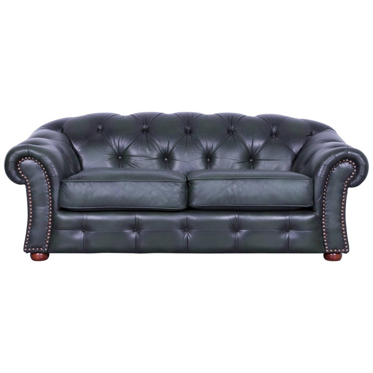 Chesterfield Leather Sofa Green Two-Seat Couch