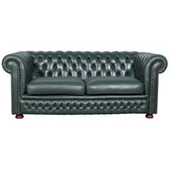 Chesterfield Leather Sofa Green Two-Seat Couch Vintage Retro